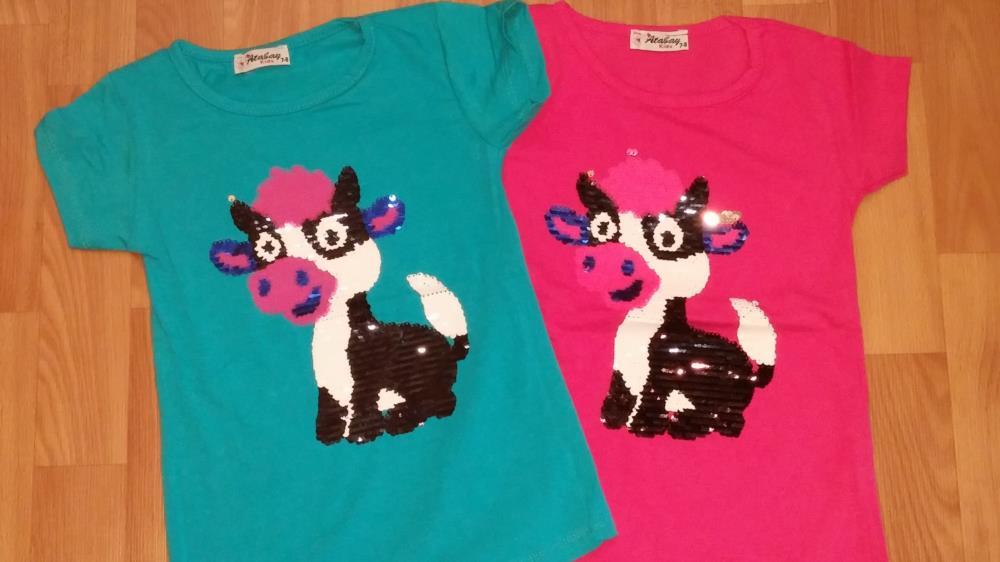 Детские  футболки  с пайетками
