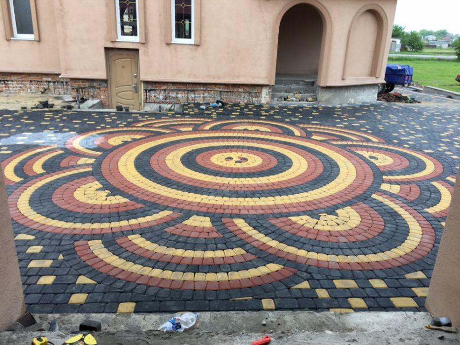 Укладання тротуарної плитки Вкладання бруківки Укладка тротуарной плитки Брусчатка