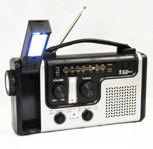 Радиоприемник на солнечных батареях с сиреной и фонарем