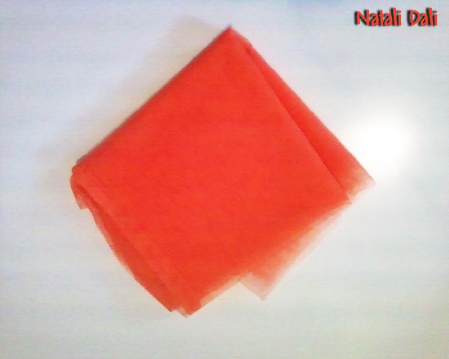 Ткань фатин ярко-коралловая оранжево-алая жёсткая отрез 80x180 см