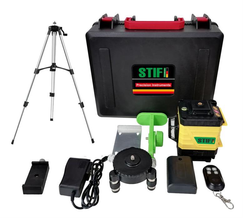 3D Лазерный уровень 12 линий STIF Germany Зеленый луч Нивелир  штатив