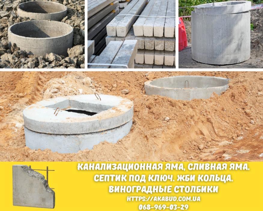 Столб виноградный бетонный ЖБИ кольца Кривой Рог